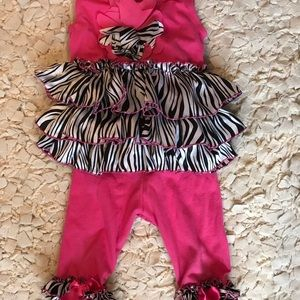 Other - Popatu two pieces zebra print ruffled outfit.